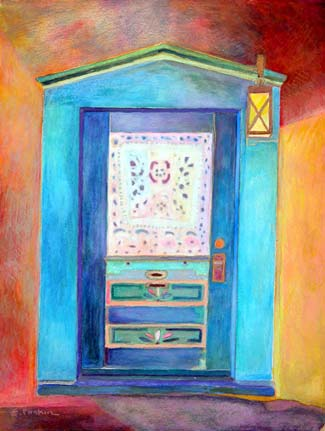On The Issues Magazine - Ellen Pliskin; BLUE DOOR, 2006, watercolor